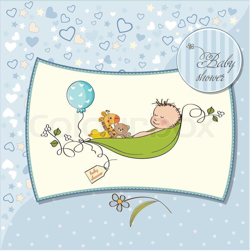 Baby Shower Wiki: Little Boy Sleeping In A Pea Been, Baby Shower Card