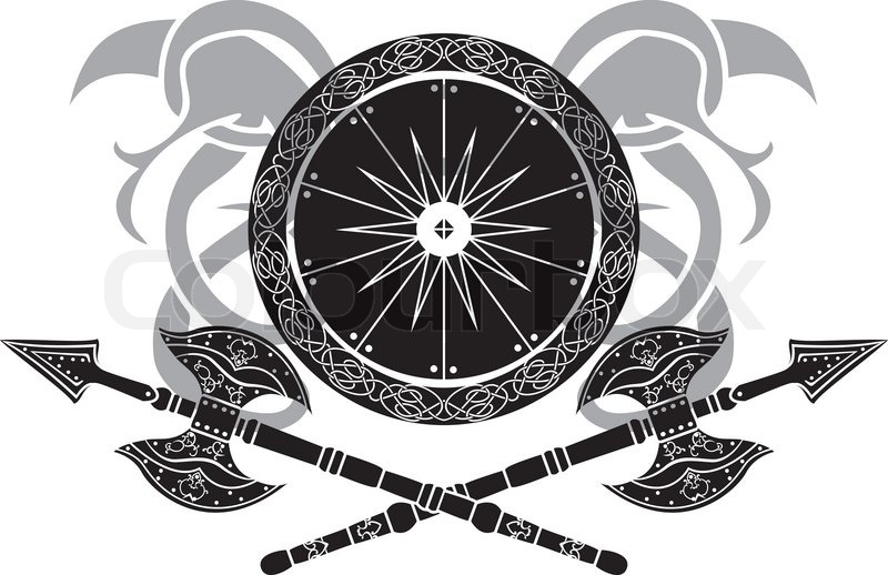 Viking Shield With Axe Vector Illustration For Web Stock Vector