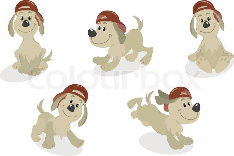 cartoon dog puppy in baseball cap stock vector colourbox