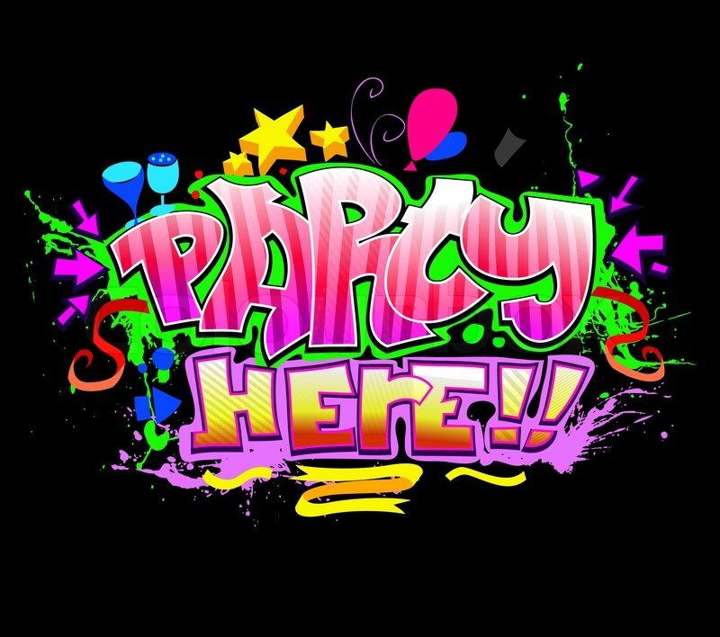 let's party graffiti vector | stock vector | colourbox, Einladung
