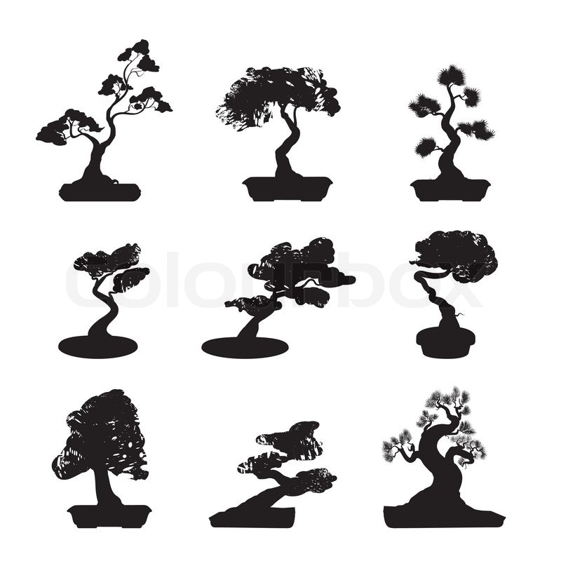 Stock vector of 'Bonsai Trees Silhouettes Set'