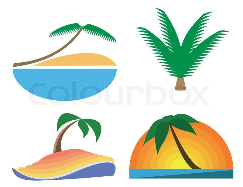 Palm Tree Vector Icons Tropic Symbols Stock Vector Colourbox
