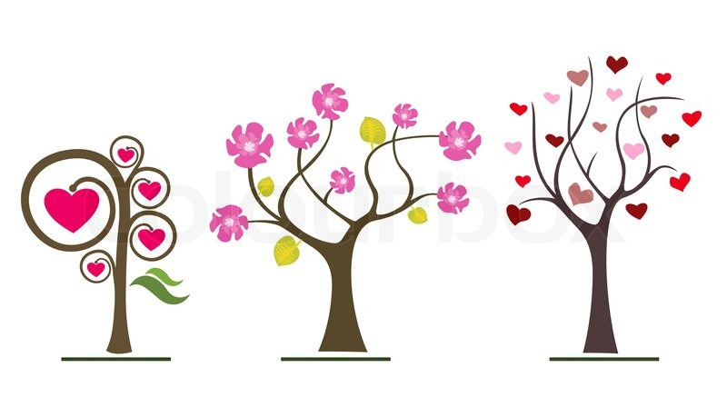 Love Trees Icons Valentine Day Or Wedding Symbols Stock Vector