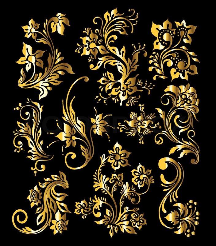 Set Of Black Flower Design Elements From My Big Floral: Floral Ornament Set Of Vintage Golden Decoration Elements