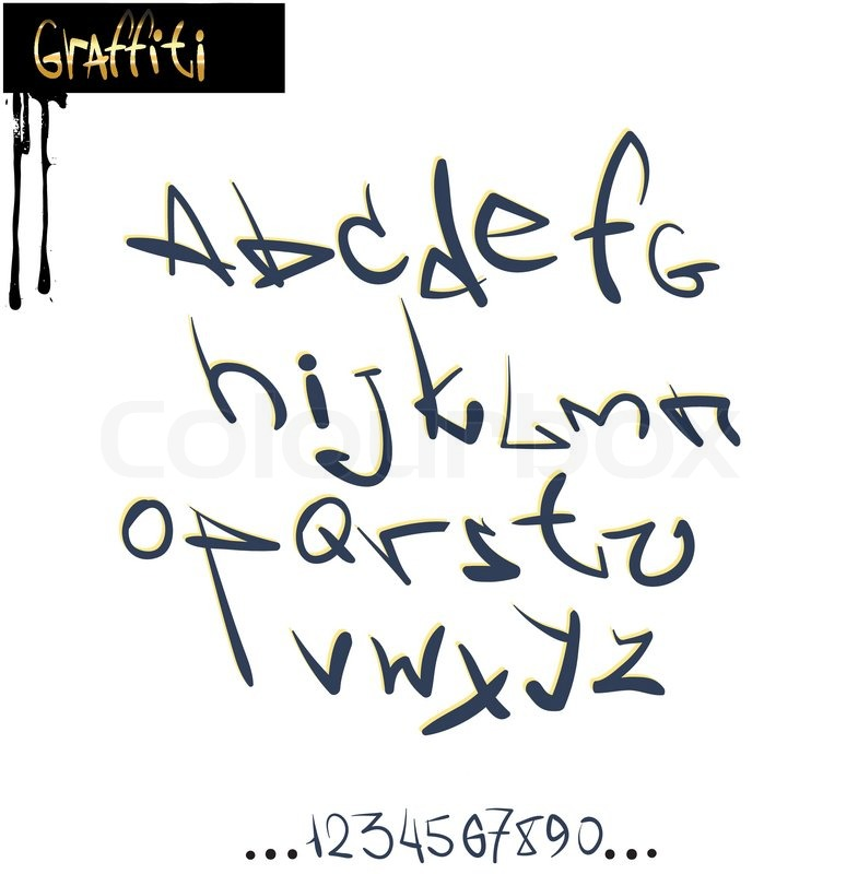 Graffiti font alphabet, abc letters | Stock vector | Colourbox