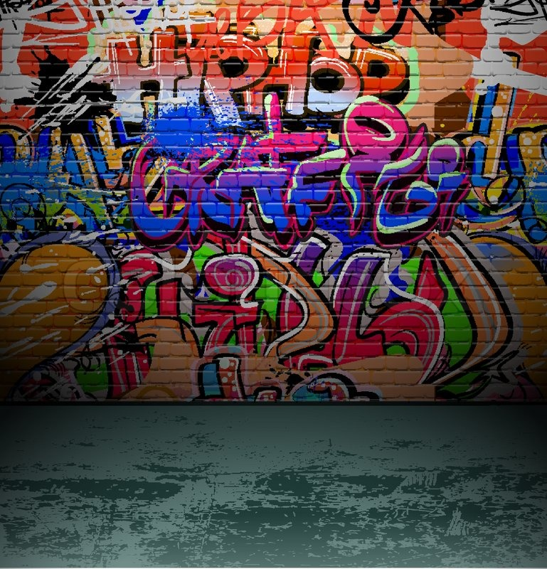 & Graffiti wall urban street art painting | Stock Vector | Colourbox