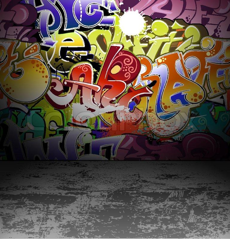 Graffiti wall urban street art painting | Stock Vector | Colourbox