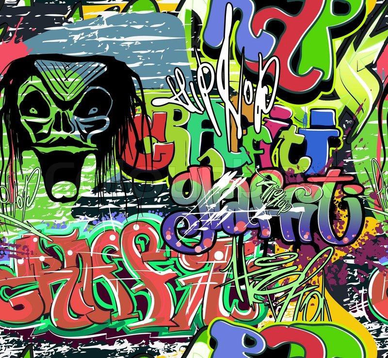 Graffiti Backgrounds on Stock Vector Of  Graffiti Wall Urban Background Seamless