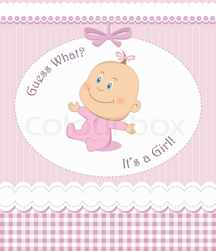 Baby Shower Wiki: Baby Shower Or Arrival Card With Girl In Pink Frame