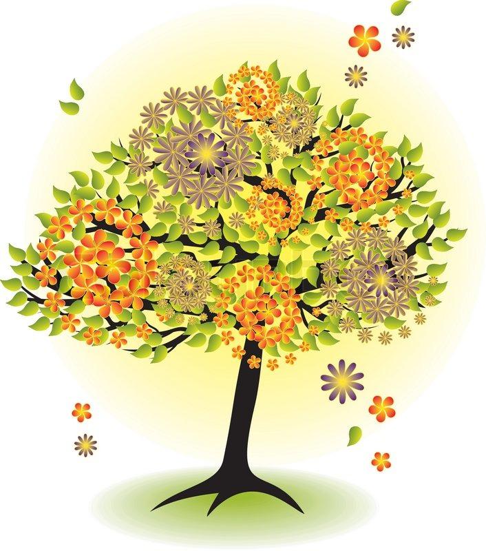 Summer Season Cartoon Season Tree For Summer With