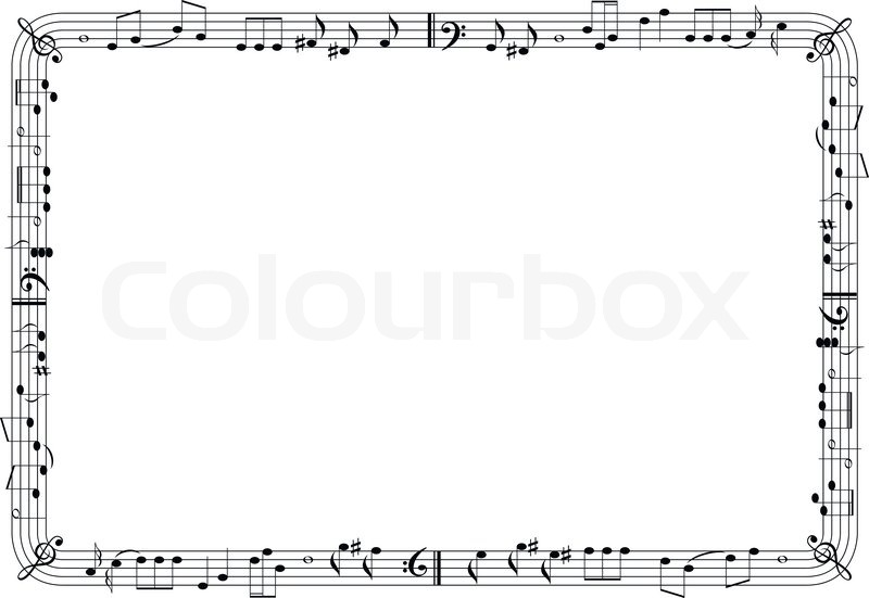 graphical music theme frame stock vector colourbox - Music Note Picture Frame