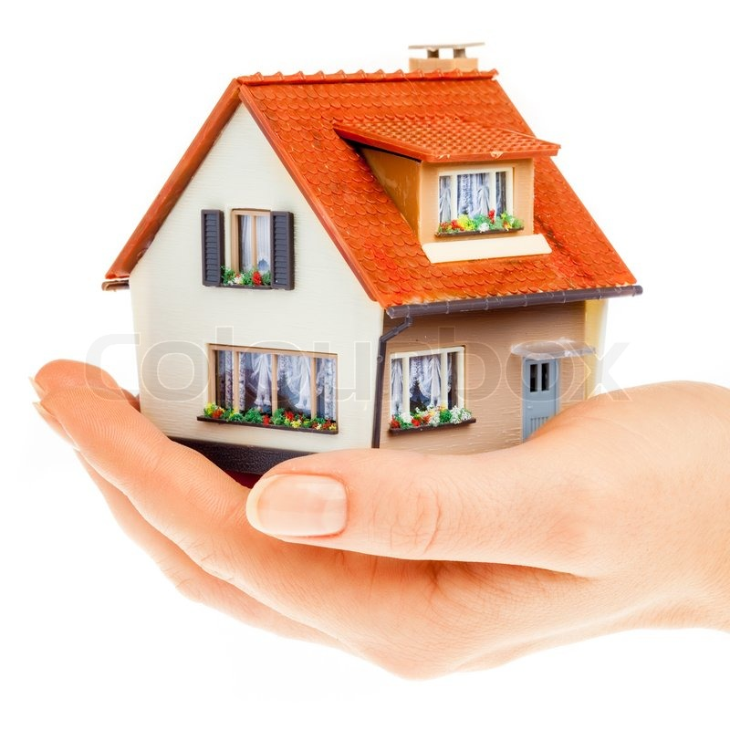 House in human hands stock photo colourbox for Getting a loan to buy land and build a house
