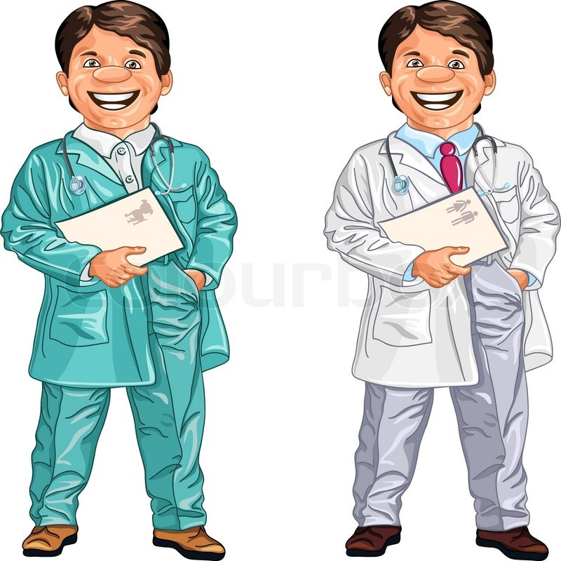 Set of happy doctor and a veterinarian with a folder and a ...