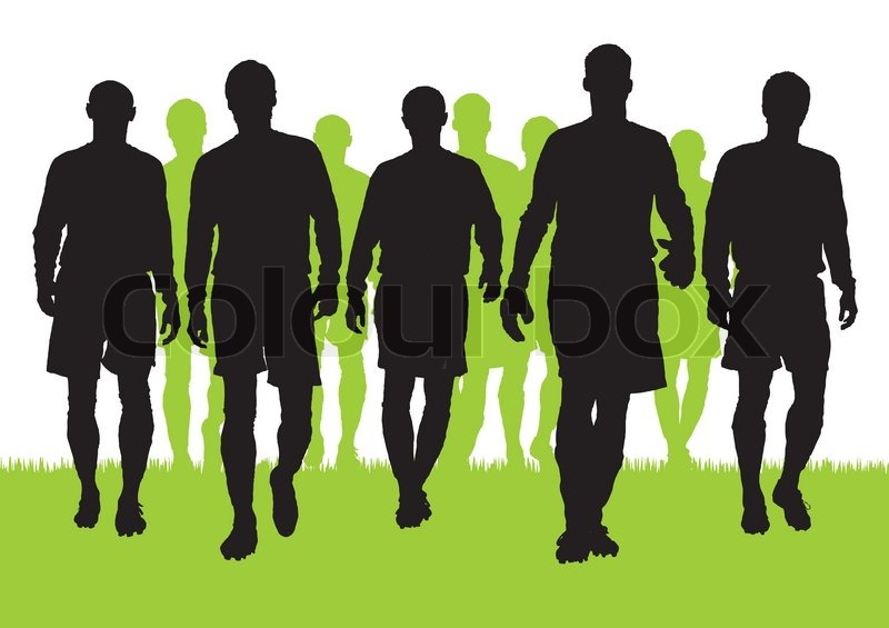 vector silhouettes of soccer players stock vector colourbox