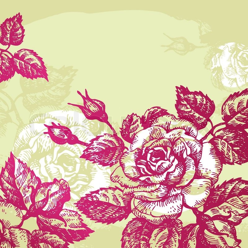 Roses Floral Background Floral Background With Roses