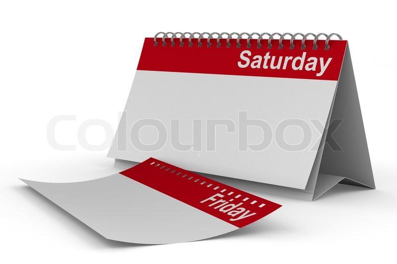 034f40925a2 Kalender für samstags auf dem weißen ... | Stockfoto | Colourbox