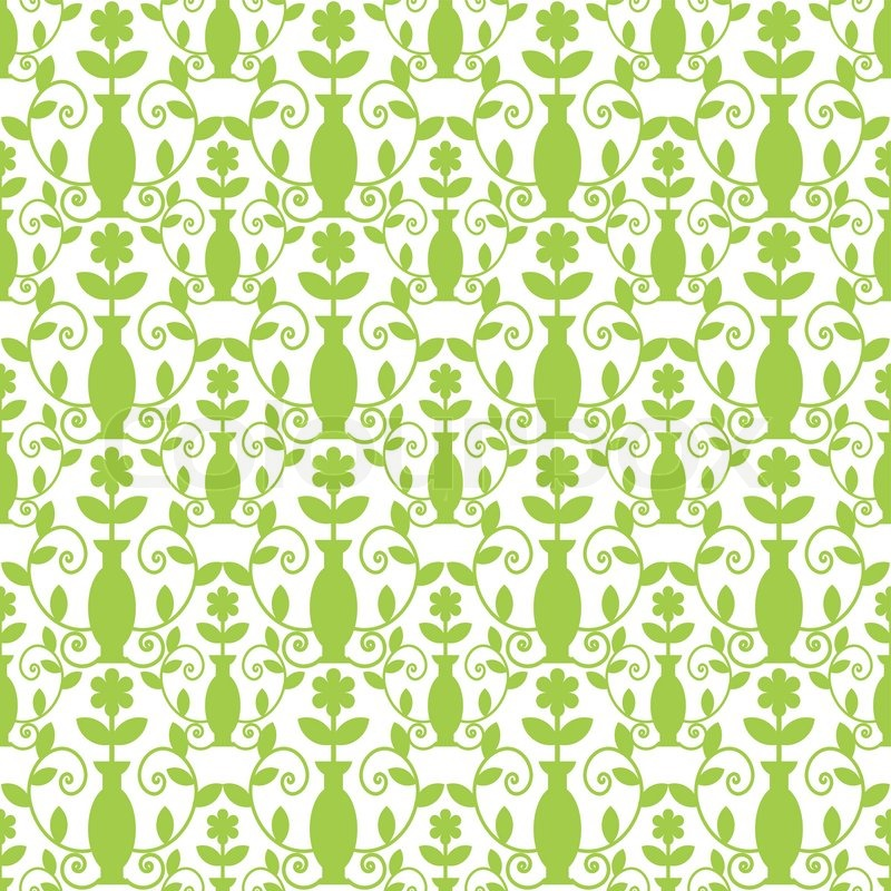 Seamless Green Damask Pattern With Vases Stock Vector
