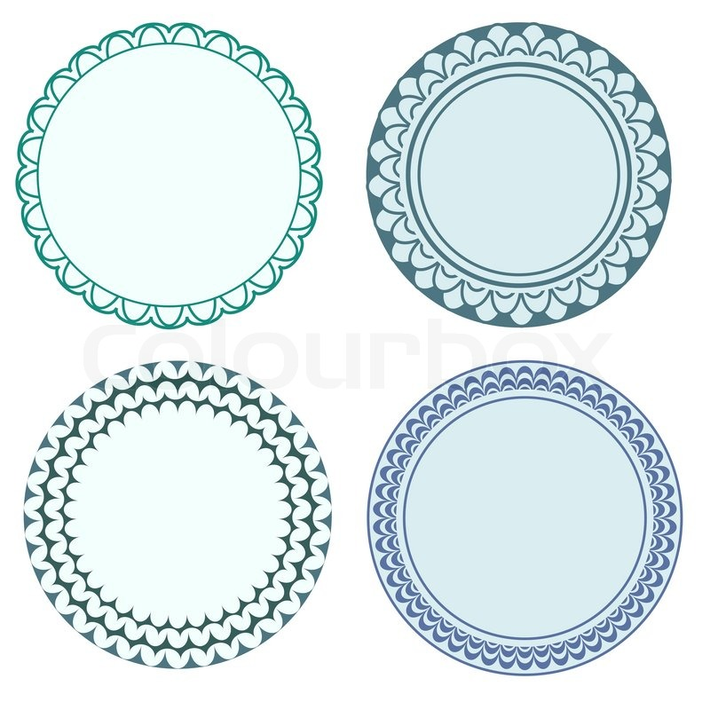 Round Labels With Ornamental Borders Stock Vector Colourbox - Round label template