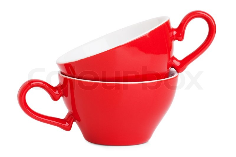 two elegant red coffee cups stock photo colourbox
