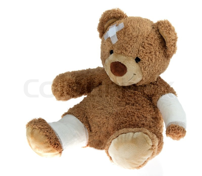Sick Bear With Bandage After An Accident Stock Photo