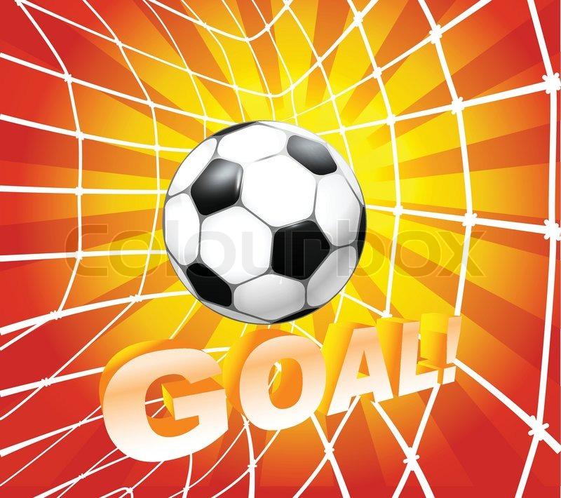 Football Soccer Ball In A Net Goal