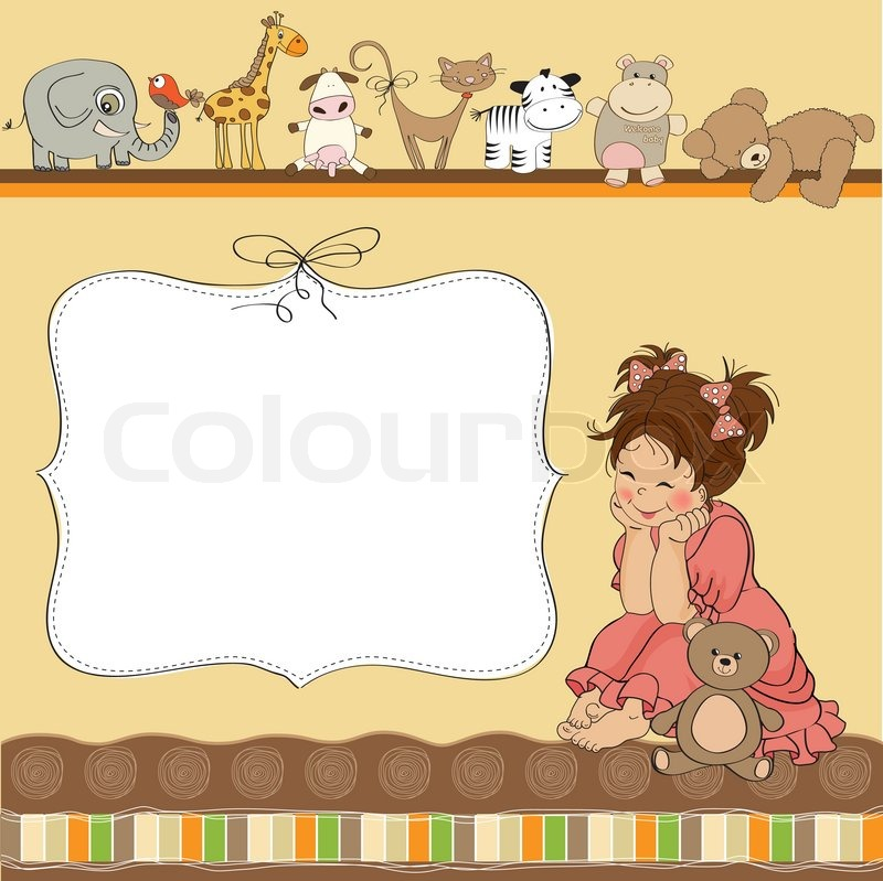 Birthday Card Template With Little Girl And Toys Stock Vector