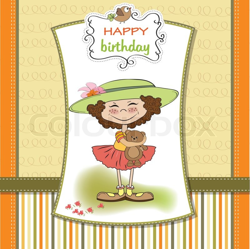 Cute Birthday Greeting Card With Girl
