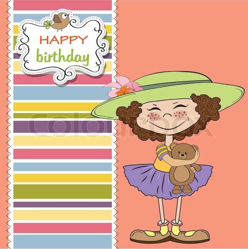 Cute Birthday Greeting Card With Girl And Her Teddy Bear Stock