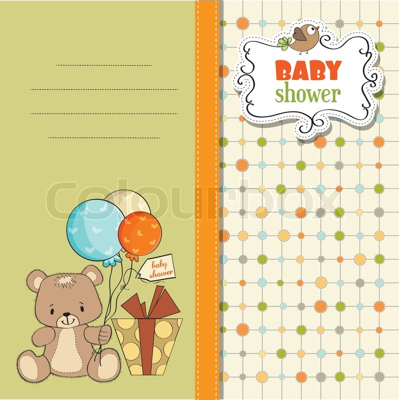 Baby Shower Wiki: Baby Shower Card With Cute Teddy Bear