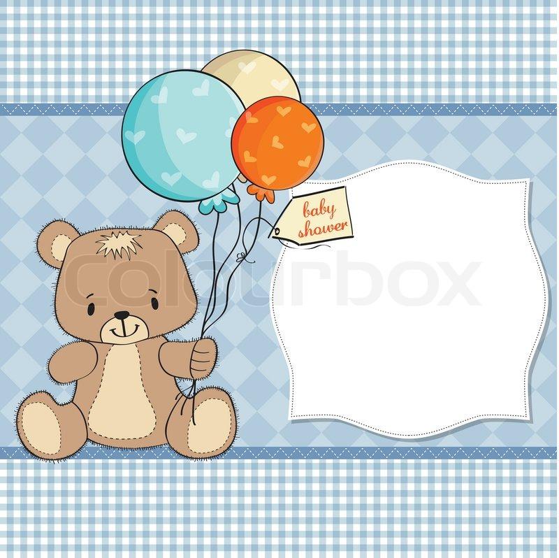 Baby Shower Card With Cute Teddy Bear Stock Vector Colourbox