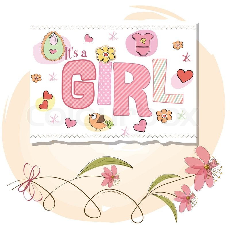 Vector of 'baby girl shower card'