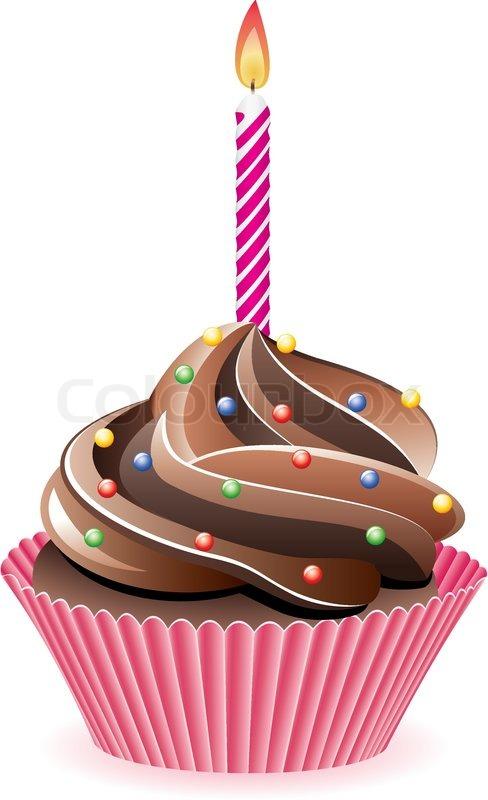 Schokolade Cupcake Mit Streuseln Und Vektorgrafik