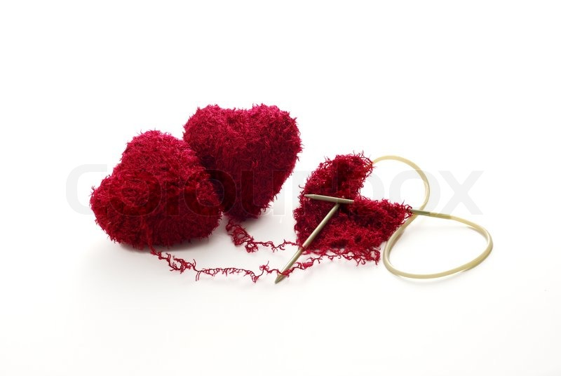 Knitting Hearts Together : Hearts knitted together stock photo colourbox