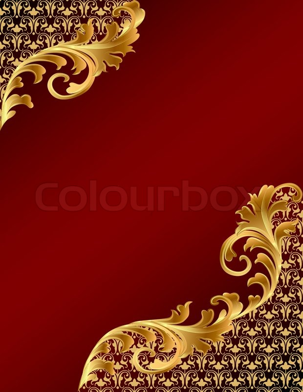 Illustration Brown Background With Golden Ornament Stock