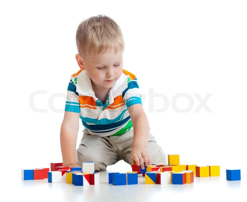 kid playing toy blocks stock photo colourbox