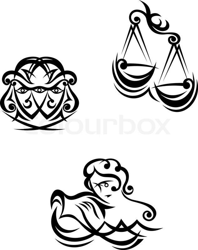 Aquarius Libra And Gemini Zodiacal Symbols Stock Vector Colourbox