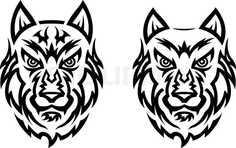 tribal wolf tattoo vektorgrafik colourbox