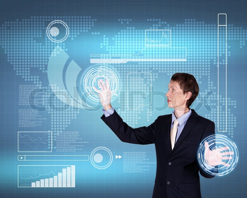 Stock image of virtual technology in business