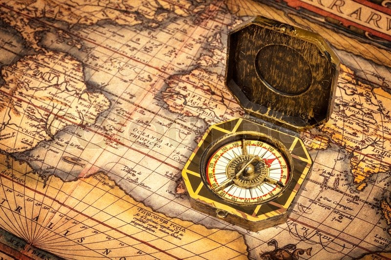 Vintage pirate compass on ancient map stock photo colourbox gumiabroncs Gallery