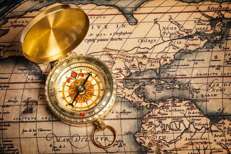 Old vintage golden compass on ancient map   Stock Photo ...