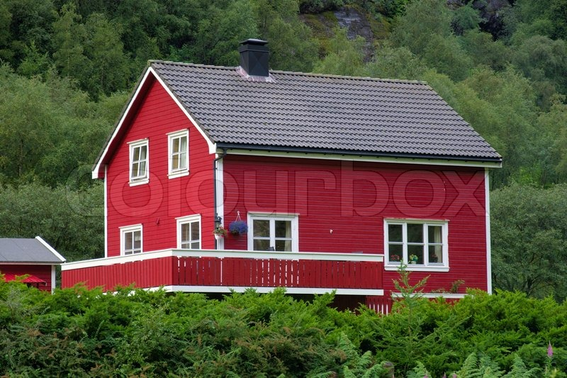 Typical norwegian house stock photo colourbox - The house on the rock the ultimate refuge in a norwegian fjord ...