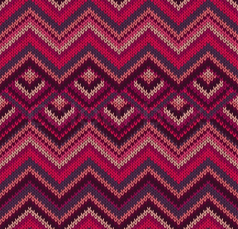 Knitting Vector Patterns : Beautiful knitted fabric pattern red pink knit style