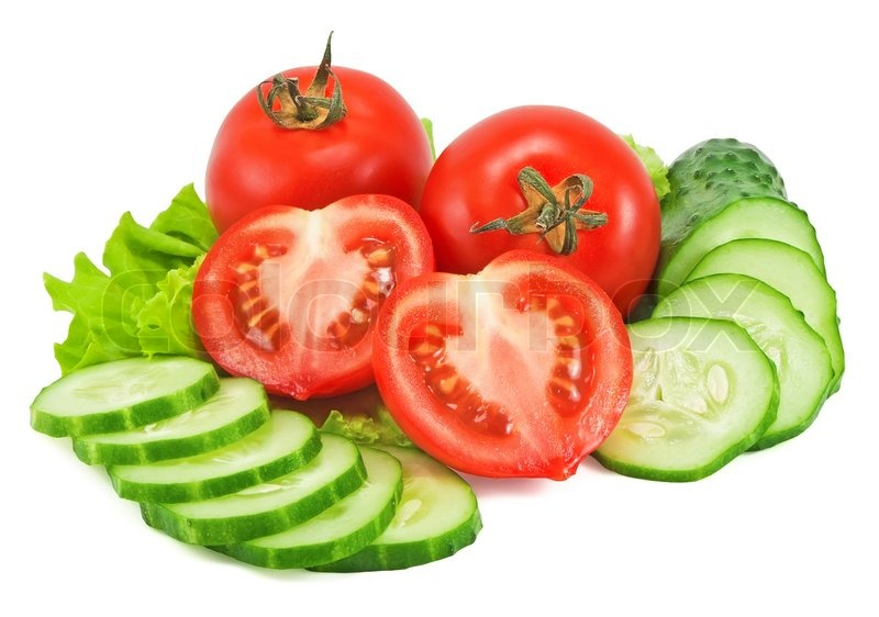 Tomatoes and cucumber with lettuce | Stock Photo | Colourbox
