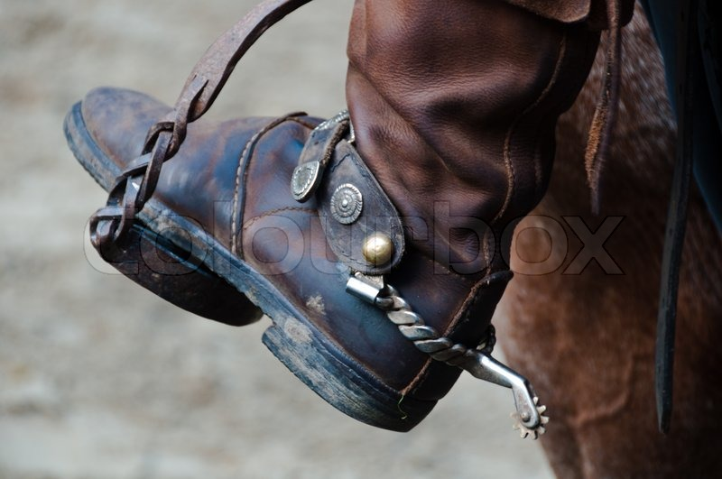 Cowboy Boot With Spur And Horse Stock Photo Colourbox