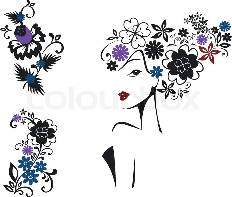 Elegant Woman With Flower Head And Floral Pattern Stock