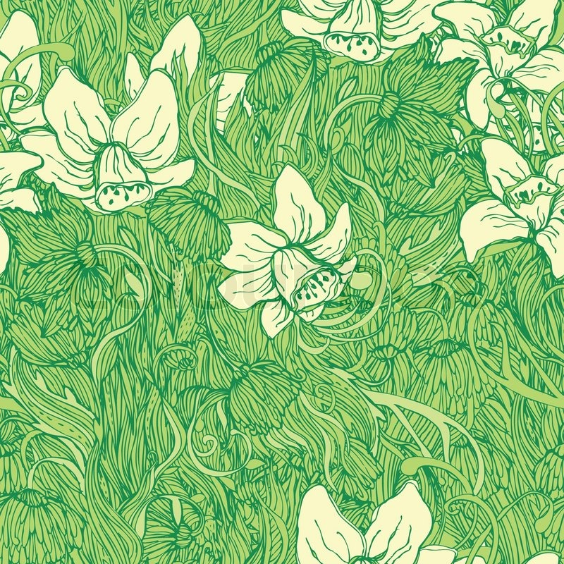 Cute Green Narcissus Floral Seamless Pattern Backgroundwith Classy Green Pattern