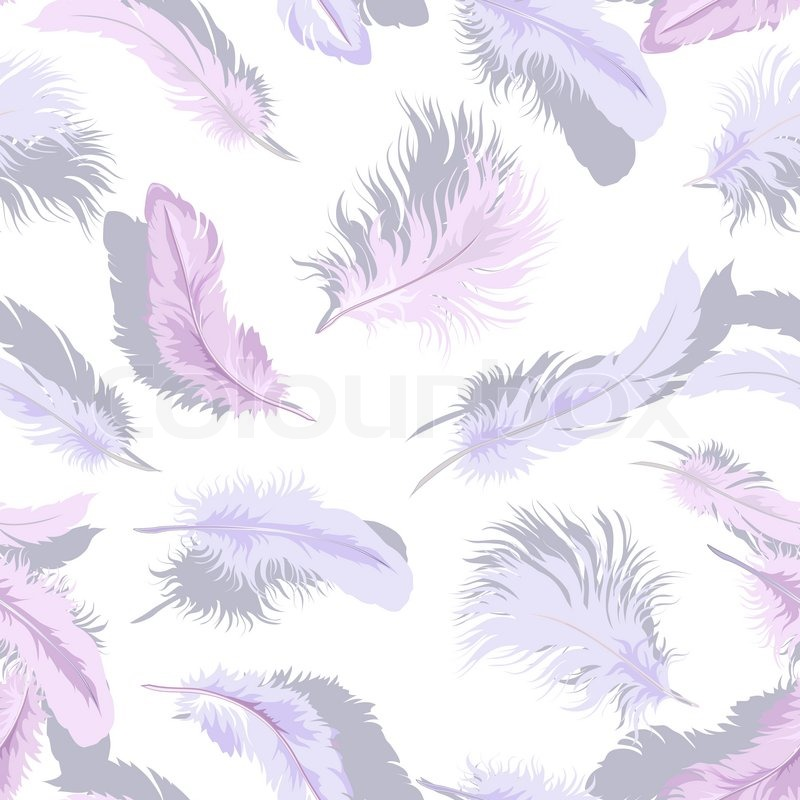 Decorative seamless background with tender light feathers