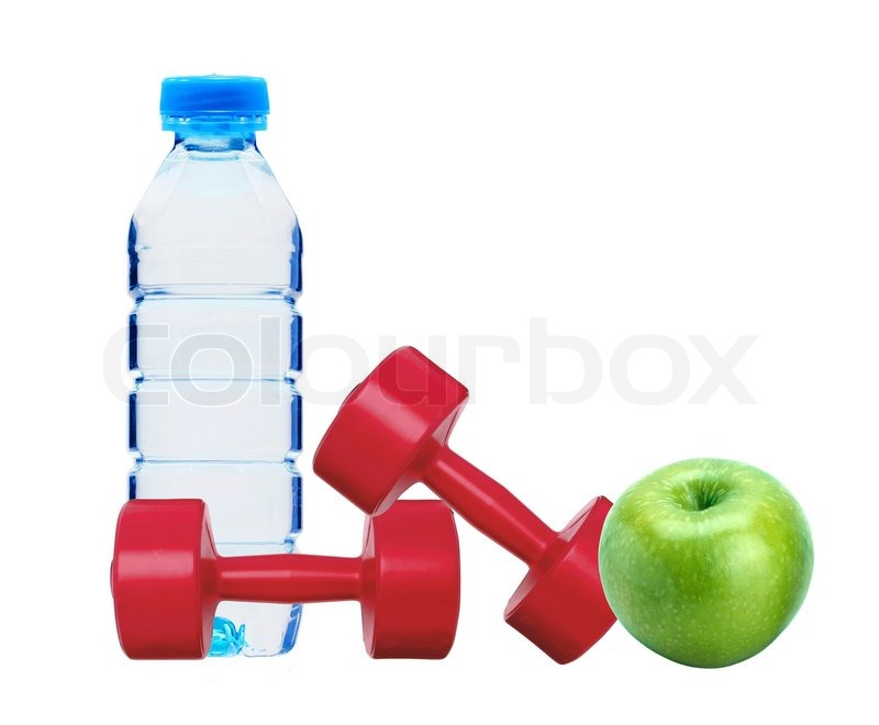 Red dumbbells fitness green apple and bottle of water