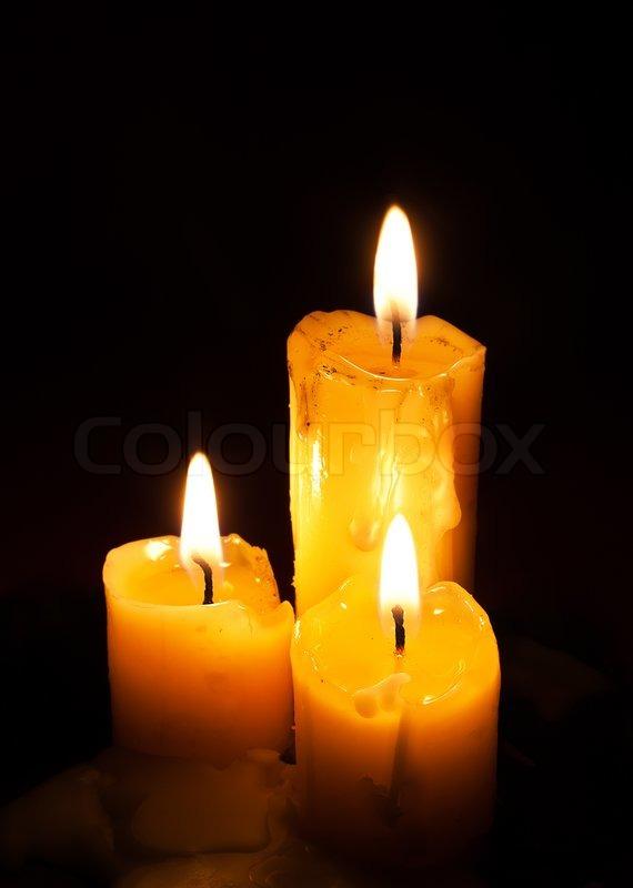 Three Old White Candles Stock Photo Colourbox
