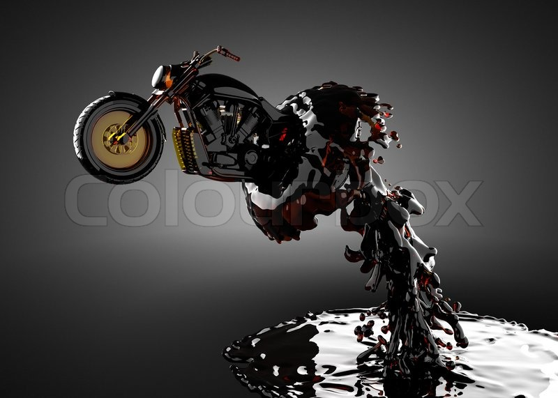 Chopper Bike In Liquid Stock Photo Colourbox
